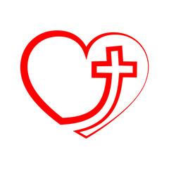 Swooping cross in heart